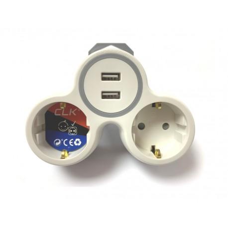 Adaptador schuko tipo 2x16A + 2 USB 2,4A